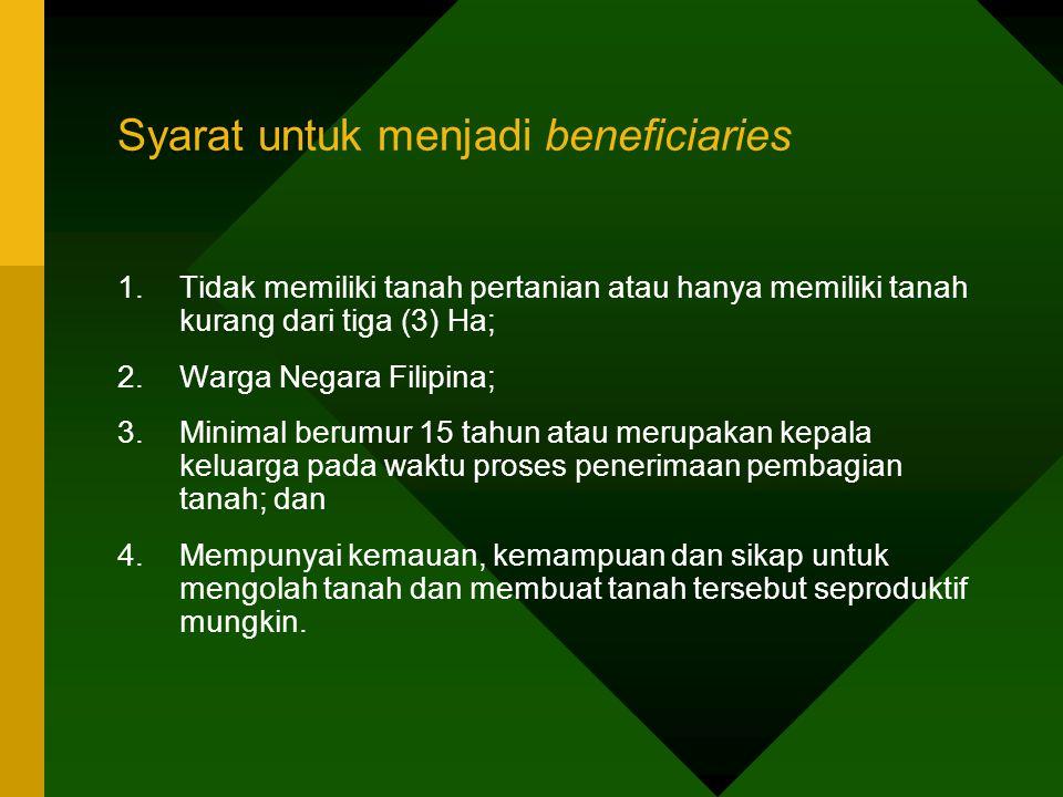 Syarat untuk menjadi beneficiaries 1.Tidak memiliki tanah pertanian atau hanya memiliki tanah kurang dari tiga (3) Ha; 2.Warga Negara Filipina; 3.Mini