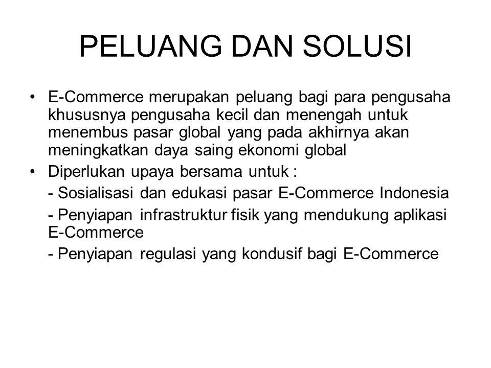 PELUANG DAN SOLUSI E-Commerce merupakan peluang bagi para pengusaha khususnya pengusaha kecil dan menengah untuk menembus pasar global yang pada akhir