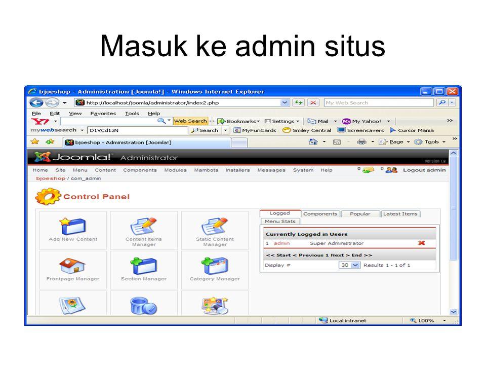 Masuk ke admin situs