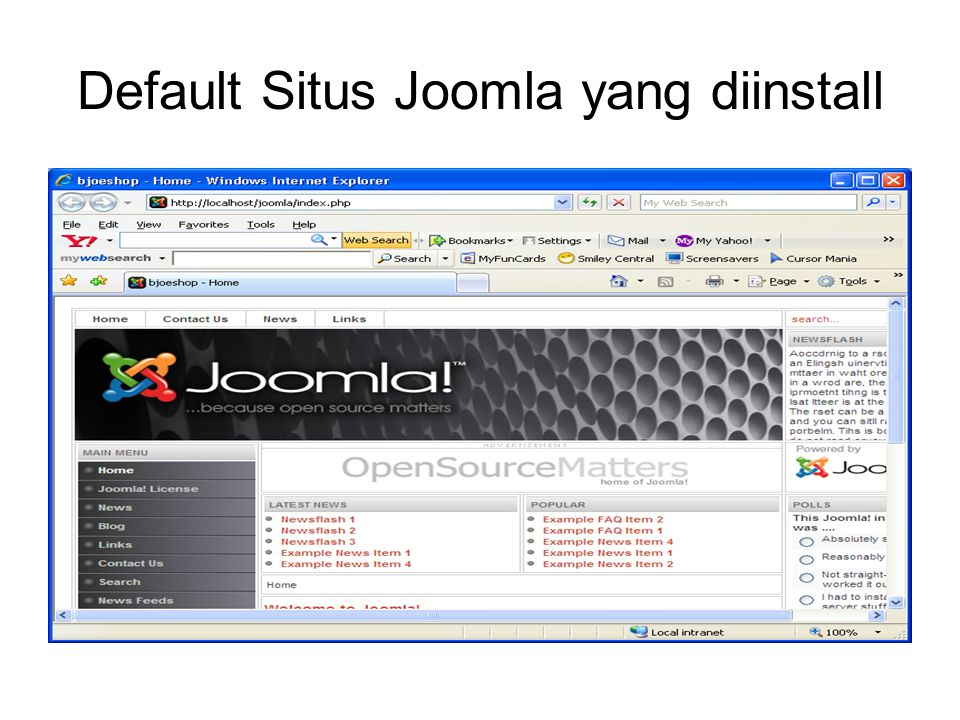 Install Patch Joomla Copy file index2.php (file patch joomla!_1.0.13_sessionFix.zip) ke c:/program files/xampp/htdocs/joomla/administrator