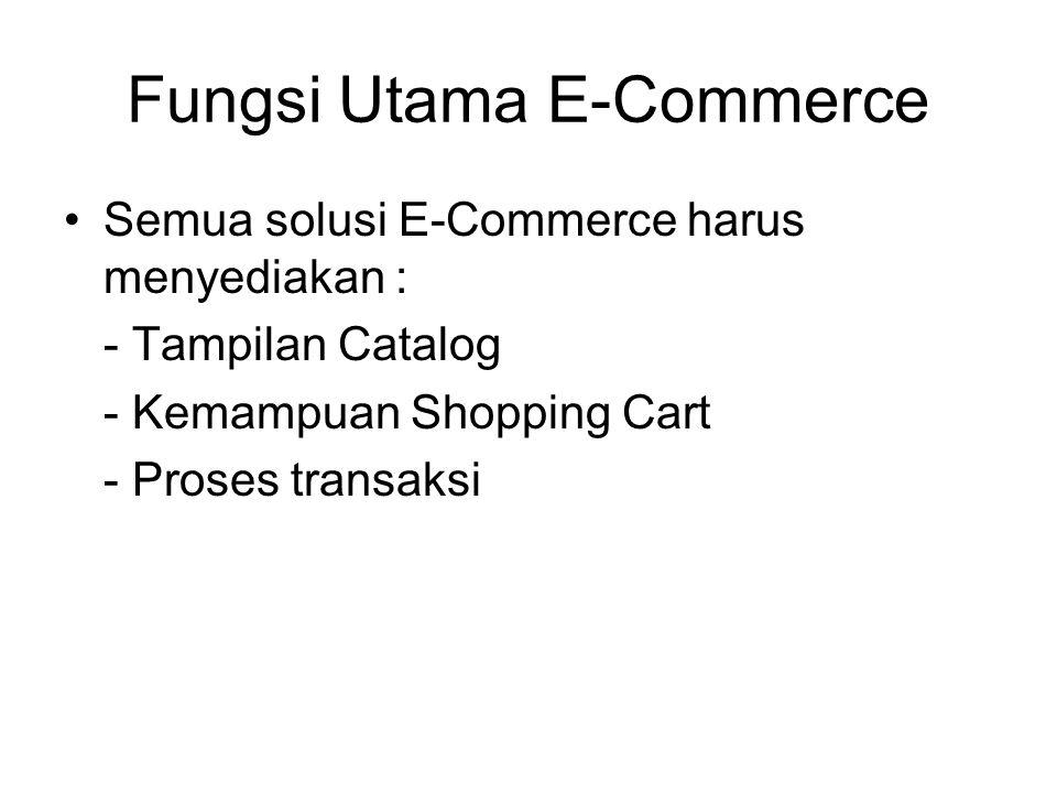 Fungsi Utama E-Commerce Semua solusi E-Commerce harus menyediakan : - Tampilan Catalog - Kemampuan Shopping Cart - Proses transaksi