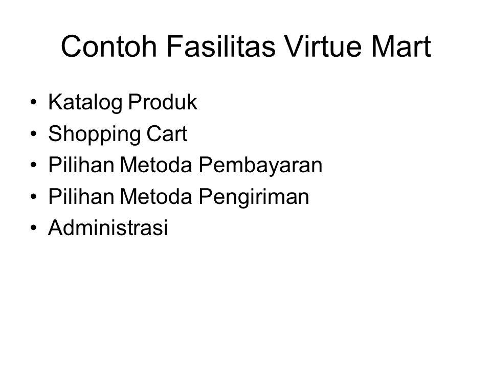 Contoh Fasilitas Virtue Mart Katalog Produk Shopping Cart Pilihan Metoda Pembayaran Pilihan Metoda Pengiriman Administrasi