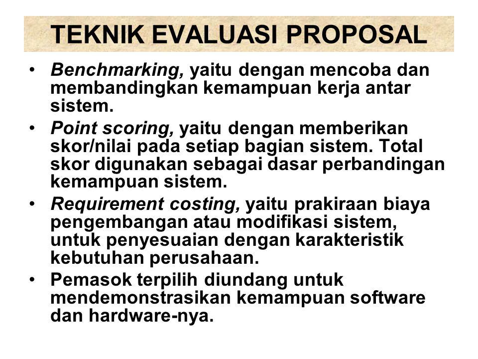 TEKNIK EVALUASI PROPOSAL Benchmarking, yaitu dengan mencoba dan membandingkan kemampuan kerja antar sistem. Point scoring, yaitu dengan memberikan sko
