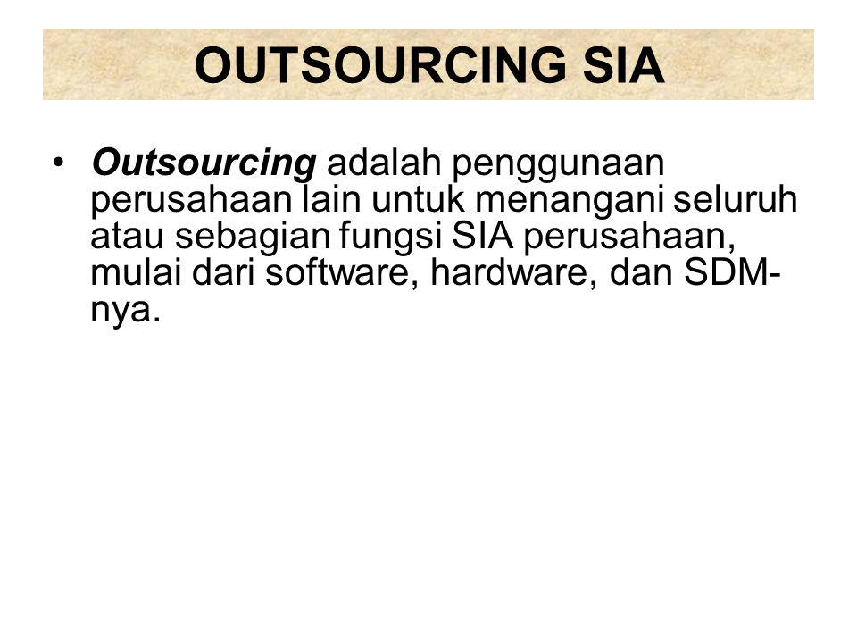 OUTSOURCING SIA Outsourcing adalah penggunaan perusahaan lain untuk menangani seluruh atau sebagian fungsi SIA perusahaan, mulai dari software, hardwa