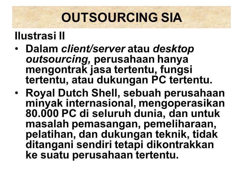 OUTSOURCING SIA Ilustrasi II Dalam client/server atau desktop outsourcing, perusahaan hanya mengontrak jasa tertentu, fungsi tertentu, atau dukungan P