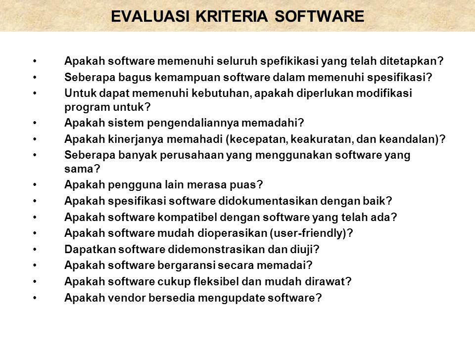 EVALUASI KRITERIA SOFTWARE Apakah software memenuhi seluruh spefikikasi yang telah ditetapkan? Seberapa bagus kemampuan software dalam memenuhi spesif