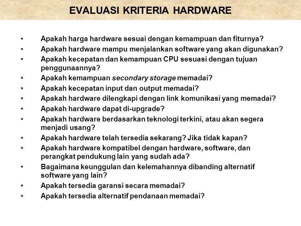 EVALUASI KRITERIA HARDWARE Apakah harga hardware sesuai dengan kemampuan dan fiturnya? Apakah hardware mampu menjalankan software yang akan digunakan?