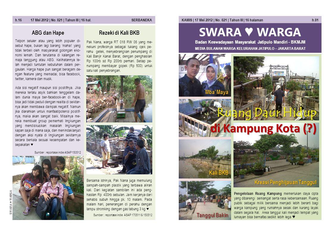 SWARA ♥ WARGA MEDIA BULANAN WARGA KELURAHAN JATIPULO – JAKARTA BARAT KAMIS | 17 Mei 2012 | No. 021 | Tahun III | 16 halaman h.01 Pengelolaan Ruang Kam