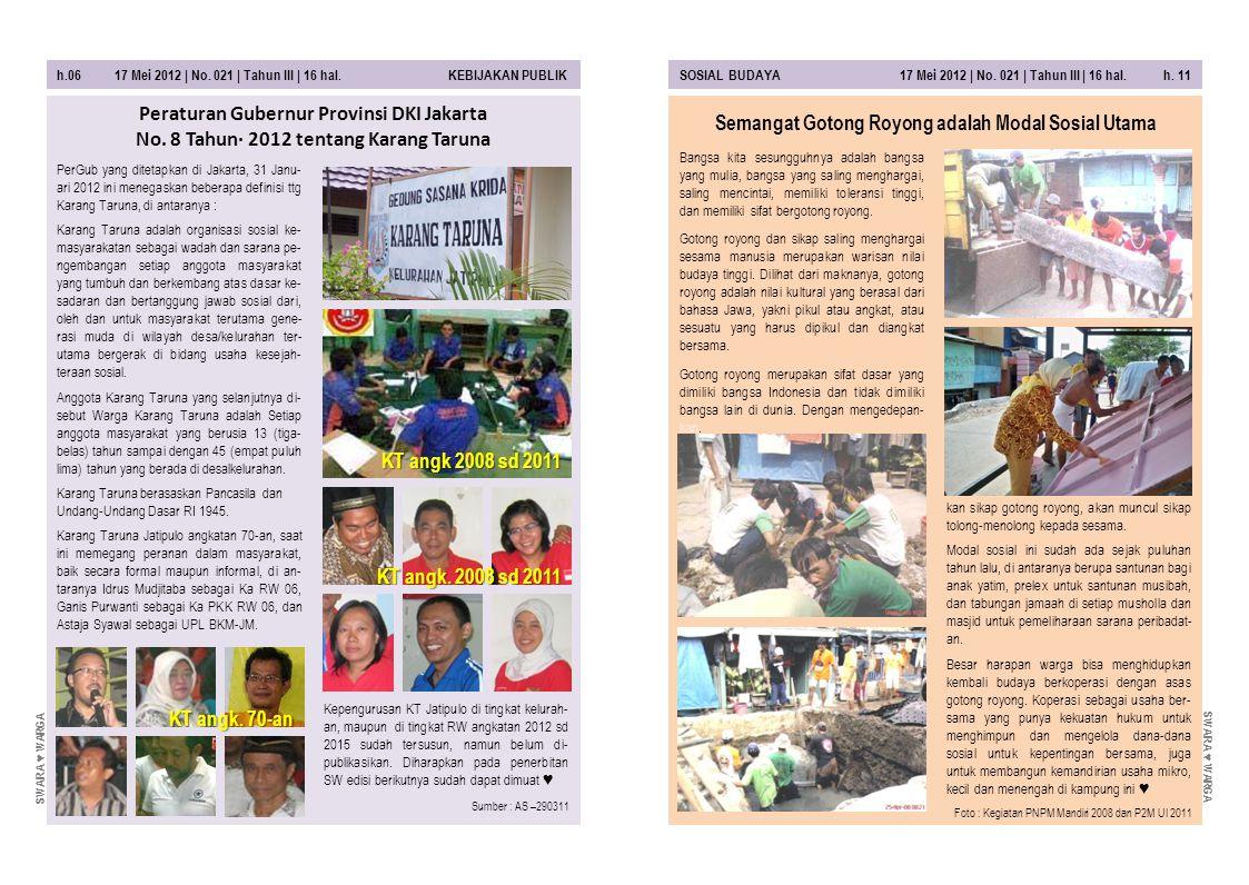 h.06 17 Mei 2012 | No. 021 | Tahun III | 16 hal. KEBIJAKAN PUBLIKSOSIAL BUDAYA 17 Mei 2012 | No. 021 | Tahun III | 16 hal. h. 11 kan sikap gotong royo
