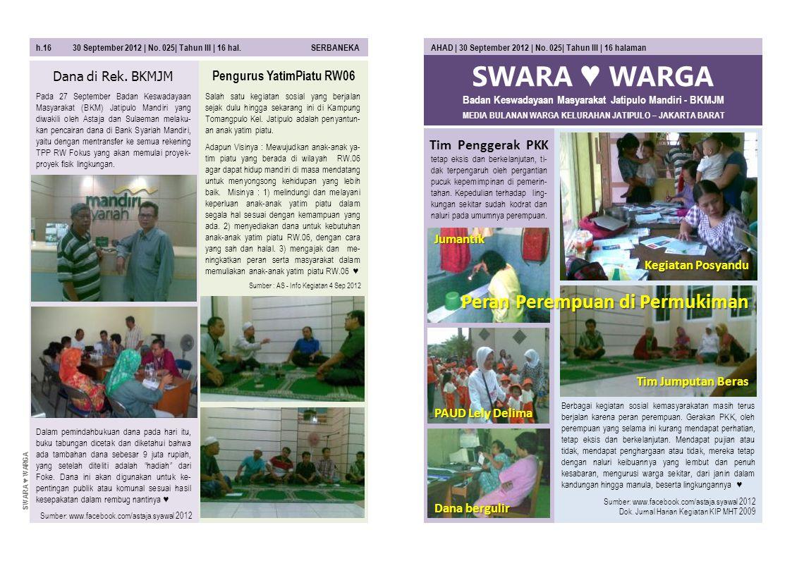 SWARA ♥ WARGA MEDIA BULANAN WARGA KELURAHAN JATIPULO – JAKARTA BARAT AHAD | 30 September 2012 | No. 025| Tahun III | 16 halaman tetap eksis dan berkel