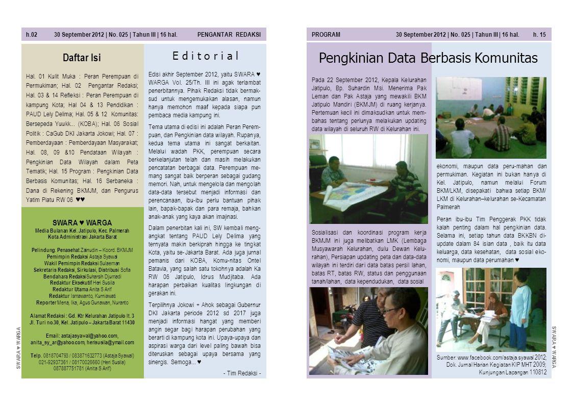 h.02 30 September 2012 | No. 025 | Tahun III | 16 hal. PENGANTAR REDAKSIPROGRAM 30 September 2012 | No. 025 | Tahun III | 16 hal. h. 15 SWARA ♥ WARGA