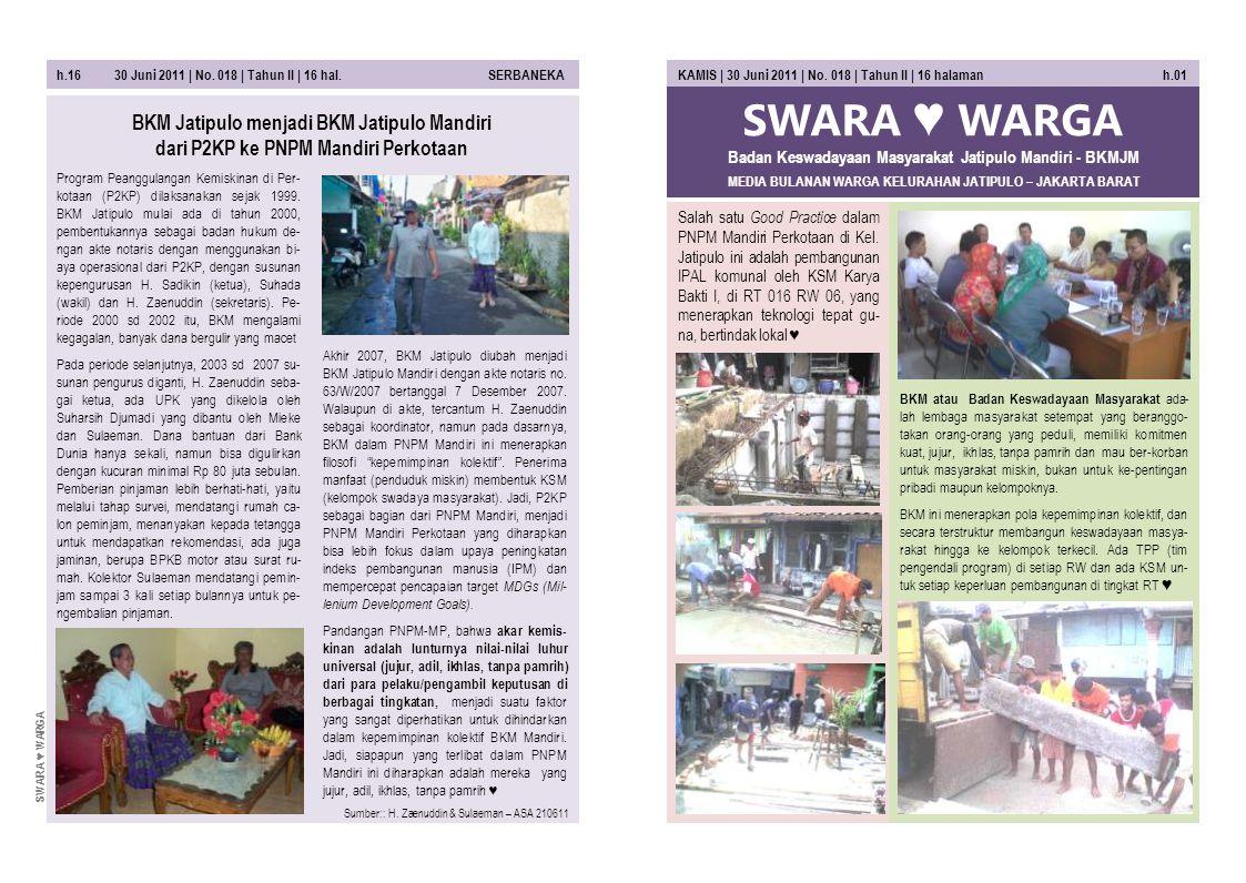 SWARA ♥ WARGA MEDIA BULANAN WARGA KELURAHAN JATIPULO – JAKARTA BARAT KAMIS | 30 Juni 2011 | No. 018 | Tahun II | 16 halaman h.01 Salah satu Good Pract