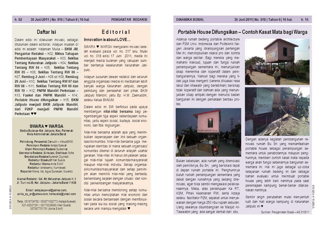 h. 02 30 Juni 2011 | No. 016 | Tahun II | 16 hal. PENGANTAR REDAKSIDINAMIKA SOSIAL 30 Juni 2011| No. 018 | Tahun II | 16 hal. h. 15 Adanya rumah beden