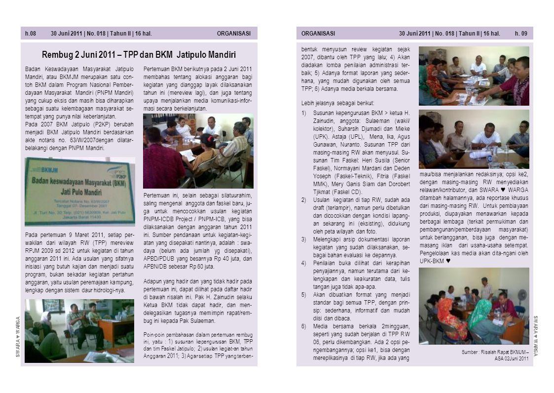 h.08 30 Juni 2011 | No. 018 | Tahun II | 16 hal. ORGANISASIORGANISASI 30 Juni 2011 | No. 018 | Tahun II | 16 hal. h. 09 Pertemuan BKM berikutnya pada