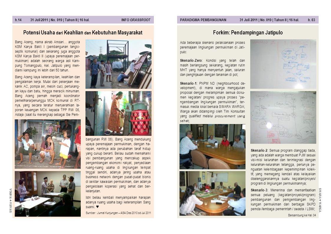 h.14 31 Juli 2011 | No. 019 | Tahun II | 16 hal. INFO GRASSROOT PARADIGMA PEMBANGUNAN 31 Juli 2011 | No. 019 | Tahun II | 16 hal. h. 03 bangunan RW 06