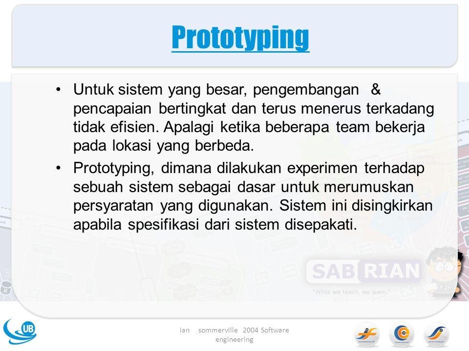 Prototyping Untuk sistem yang besar, pengembangan & pencapaian bertingkat dan terus menerus terkadang tidak efisien.