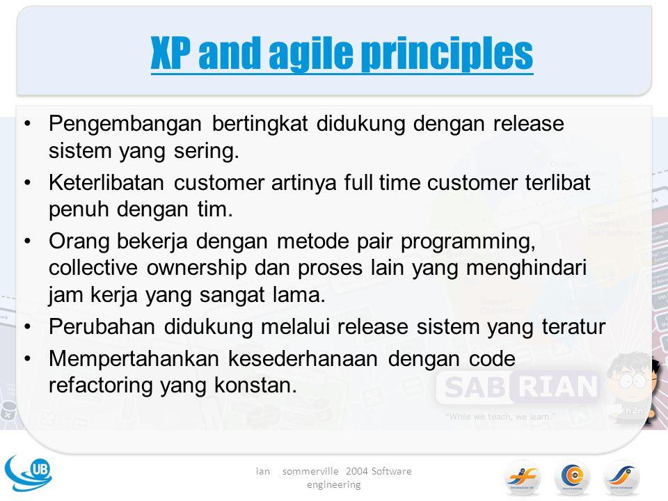XP and agile principles Pengembangan bertingkat didukung dengan release sistem yang sering.