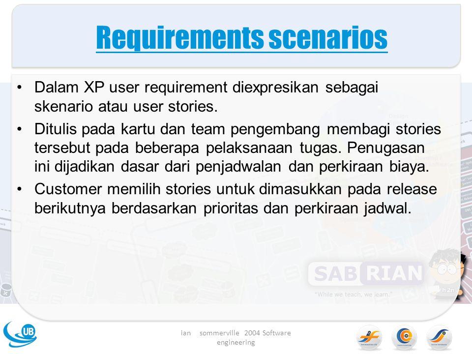 Requirements scenarios Dalam XP user requirement diexpresikan sebagai skenario atau user stories.