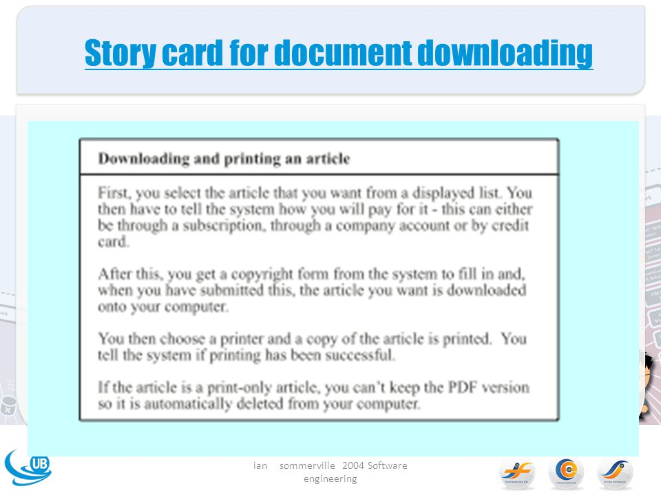 Story card for document downloading ian sommerville 2004 Software engineering