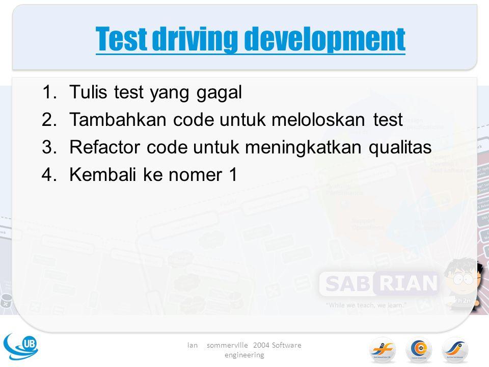 Test driving development 1.Tulis test yang gagal 2.