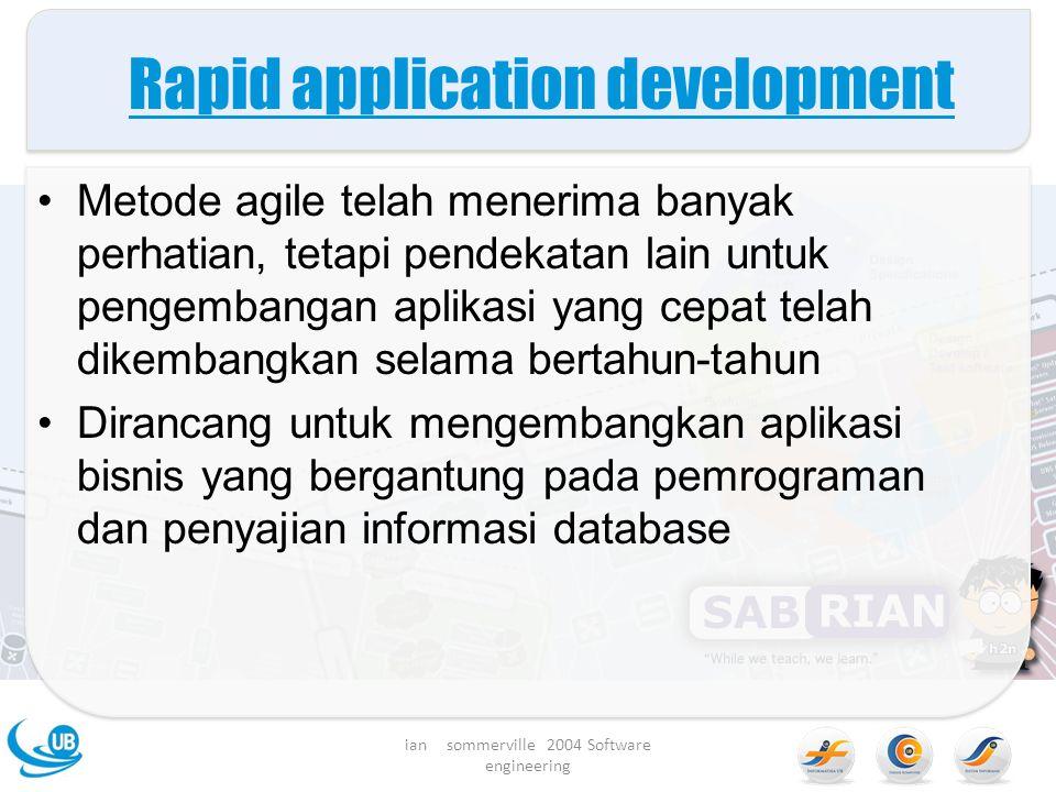 Rapid application development Metode agile telah menerima banyak perhatian, tetapi pendekatan lain untuk pengembangan aplikasi yang cepat telah dikembangkan selama bertahun-tahun Dirancang untuk mengembangkan aplikasi bisnis yang bergantung pada pemrograman dan penyajian informasi database ian sommerville 2004 Software engineering