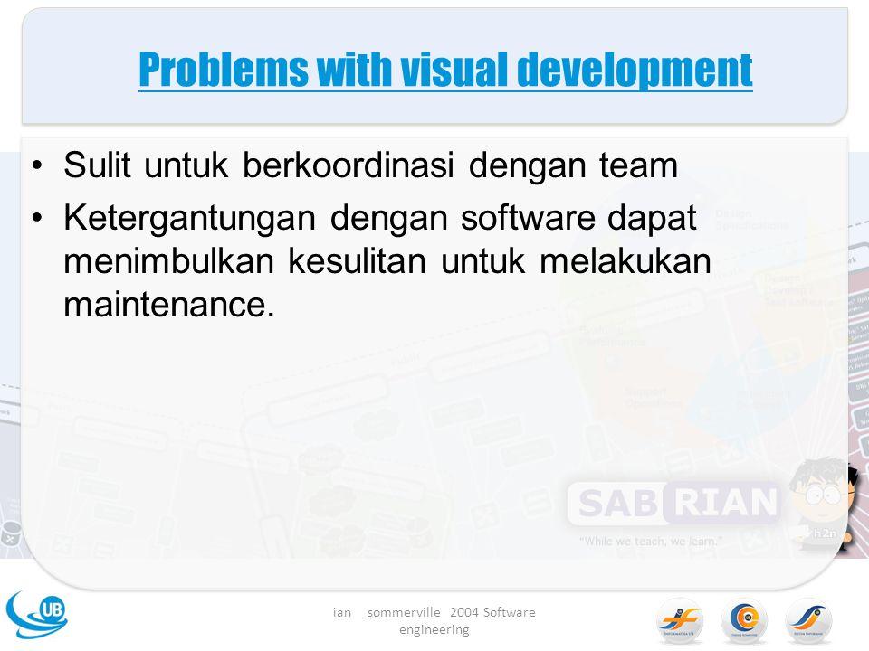 Problems with visual development Sulit untuk berkoordinasi dengan team Ketergantungan dengan software dapat menimbulkan kesulitan untuk melakukan maintenance.