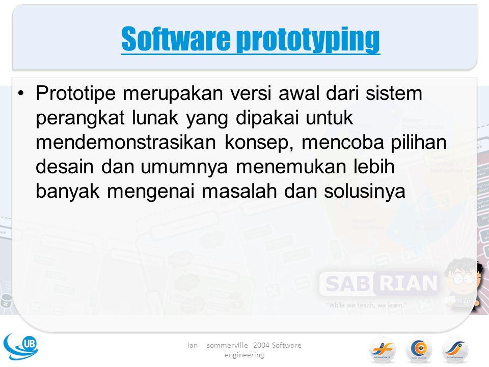 Software prototyping Prototipe merupakan versi awal dari sistem perangkat lunak yang dipakai untuk mendemonstrasikan konsep, mencoba pilihan desain dan umumnya menemukan lebih banyak mengenai masalah dan solusinya ian sommerville 2004 Software engineering