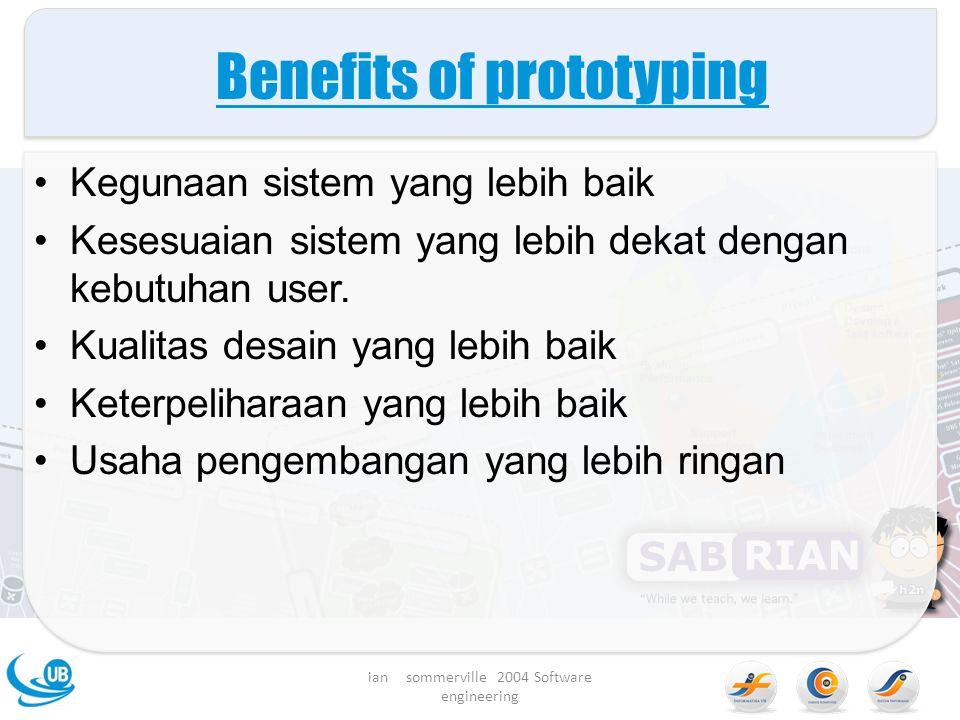 Benefits of prototyping Kegunaan sistem yang lebih baik Kesesuaian sistem yang lebih dekat dengan kebutuhan user.