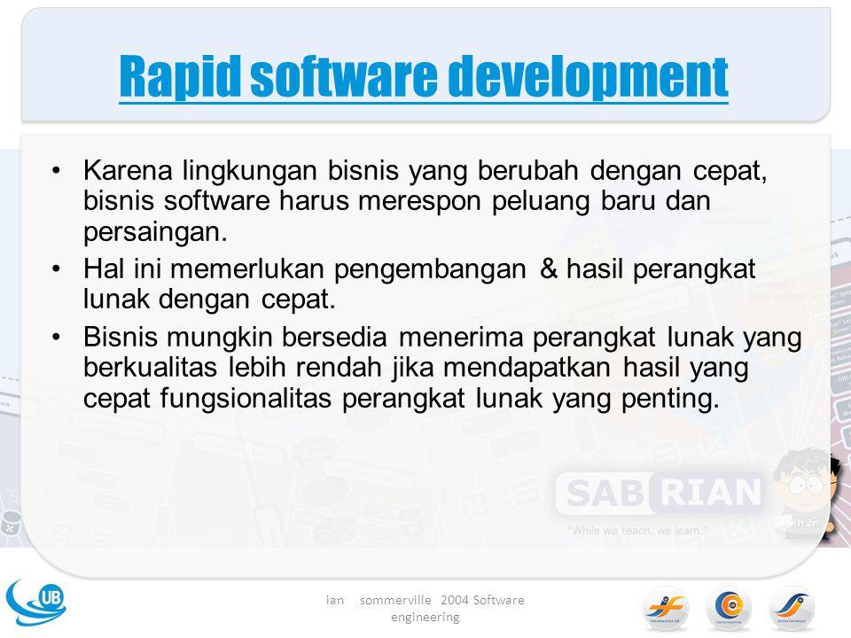 Rapid software development Karena lingkungan bisnis yang berubah dengan cepat, bisnis software harus merespon peluang baru dan persaingan.