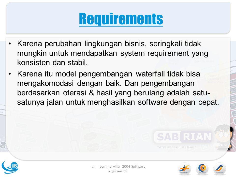 Requirements Karena perubahan lingkungan bisnis, seringkali tidak mungkin untuk mendapatkan system requirement yang konsisten dan stabil.
