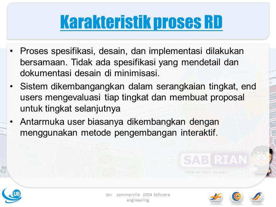 Karakteristik proses RD Proses spesifikasi, desain, dan implementasi dilakukan bersamaan.