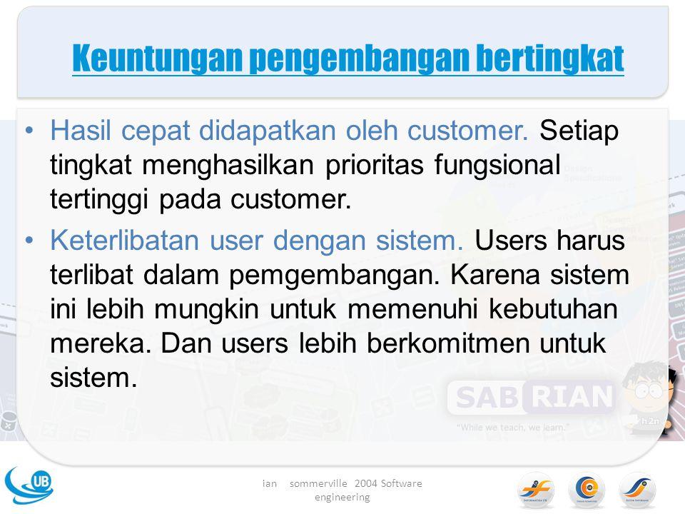 Keuntungan pengembangan bertingkat Hasil cepat didapatkan oleh customer.