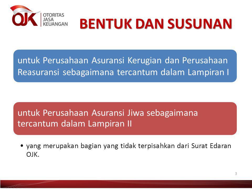 BENTUK DAN SUSUNAN 3 untuk Perusahaan Asuransi Kerugian dan Perusahaan Reasuransi sebagaimana tercantum dalam Lampiran I yang merupakan bagian yang ti