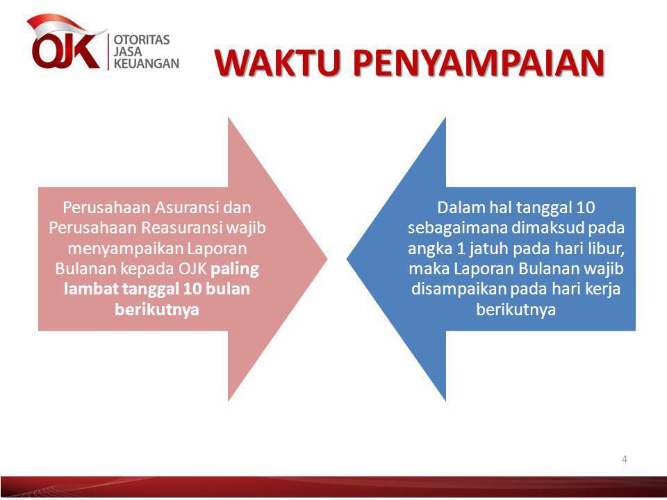 WAKTU PENYAMPAIAN Perusahaan Asuransi dan Perusahaan Reasuransi wajib menyampaikan Laporan Bulanan kepada OJK paling lambat tanggal 10 bulan berikutny