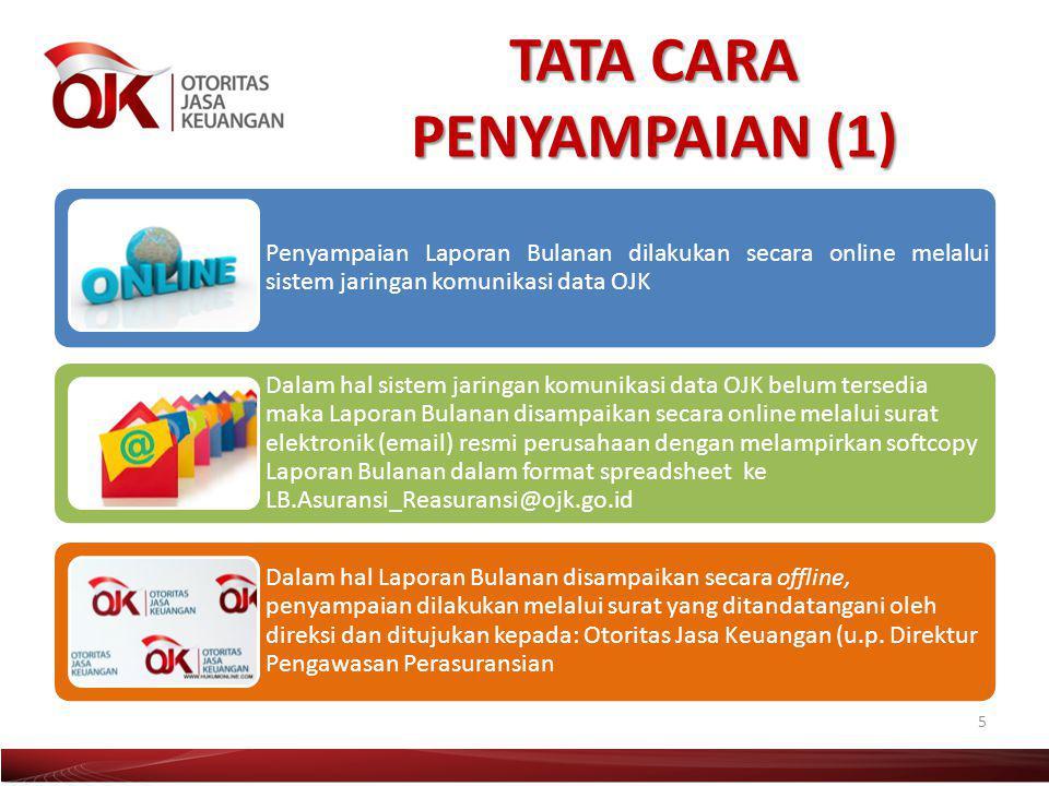 TATA CARA PENYAMPAIAN (1) 5 Penyampaian Laporan Bulanan dilakukan secara online melalui sistem jaringan komunikasi data OJK Dalam hal sistem jaringan