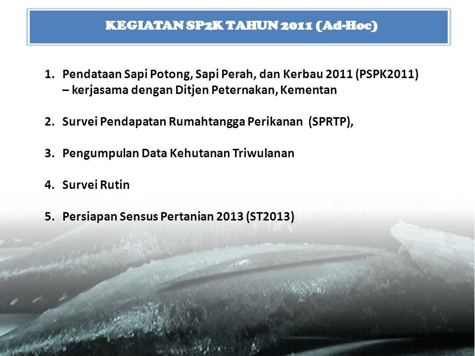 KEGIATAN SP2K TAHUN 2011 (Ad-Hoc) 1.Pendataan Sapi Potong, Sapi Perah, dan Kerbau 2011 (PSPK2011) – kerjasama dengan Ditjen Peternakan, Kementan 2.Sur