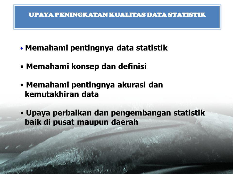 Memahami pentingnya data statistik Memahami konsep dan definisi Memahami pentingnya akurasi dan kemutakhiran data Upaya perbaikan dan pengembangan sta