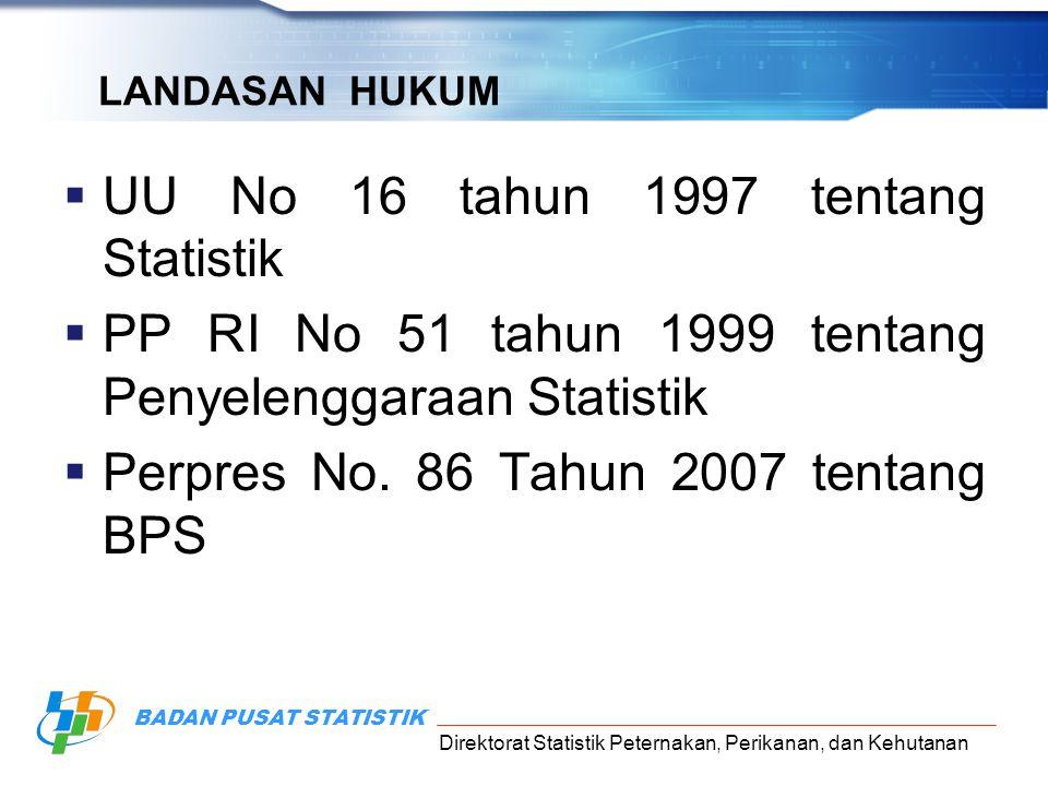 Direktorat Statistik Peternakan, Perikanan, dan Kehutanan BADAN PUSAT STATISTIK LANDASAN HUKUM  UU No 16 tahun 1997 tentang Statistik  PP RI No 51 t