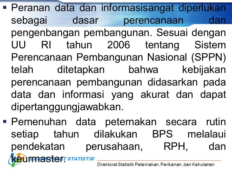 Direktorat Statistik Peternakan, Perikanan, dan Kehutanan BADAN PUSAT STATISTIK LANDASAN HUKUM  UU No 16 tahun 1997 tentang Statistik  PP RI No 51 tahun 1999 tentang Penyelenggaraan Statistik  Perpres No.