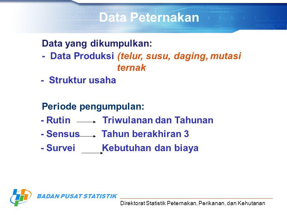 Direktorat Statistik Peternakan, Perikanan, dan Kehutanan BADAN PUSAT STATISTIK Data yang dikumpulkan: - Data Produksi (telur, susu, daging, mutasi te