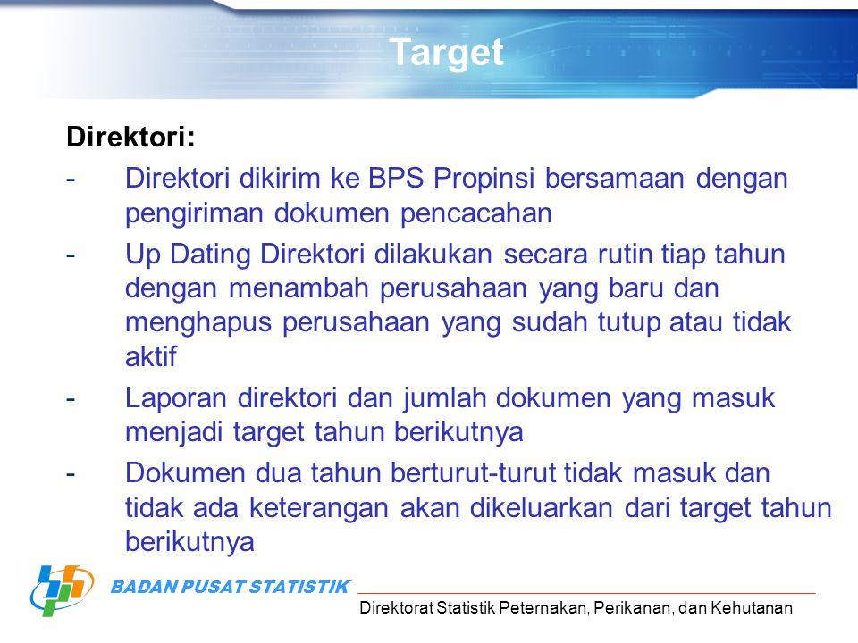Direktorat Statistik Peternakan, Perikanan, dan Kehutanan BADAN PUSAT STATISTIK Direktori: -Direktori dikirim ke BPS Propinsi bersamaan dengan pengiri