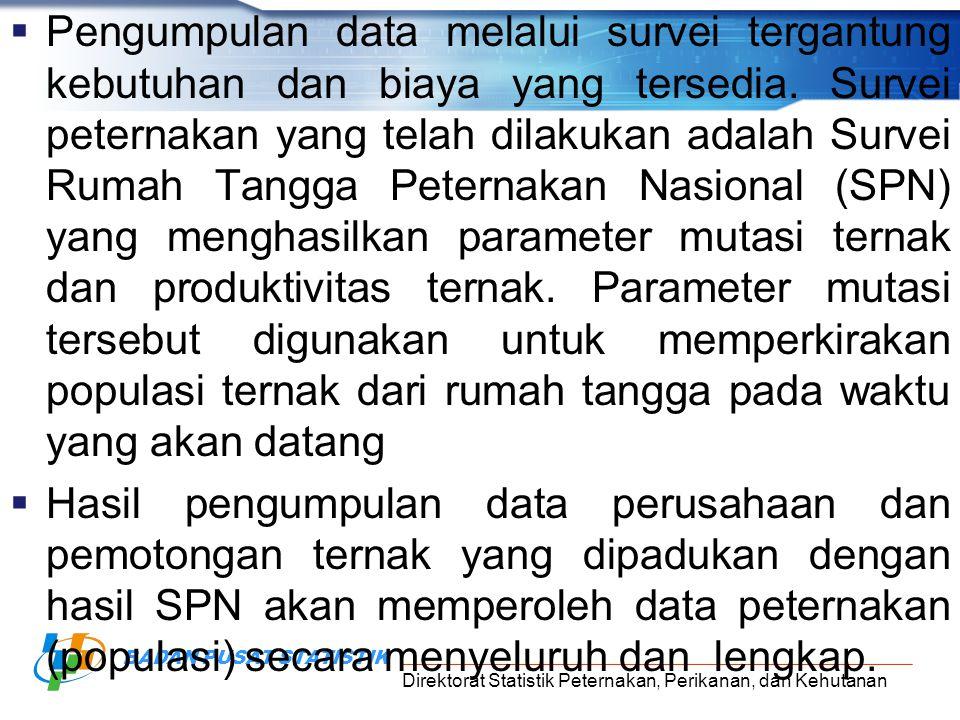 Direktorat Statistik Peternakan, Perikanan, dan Kehutanan BADAN PUSAT STATISTIK B.