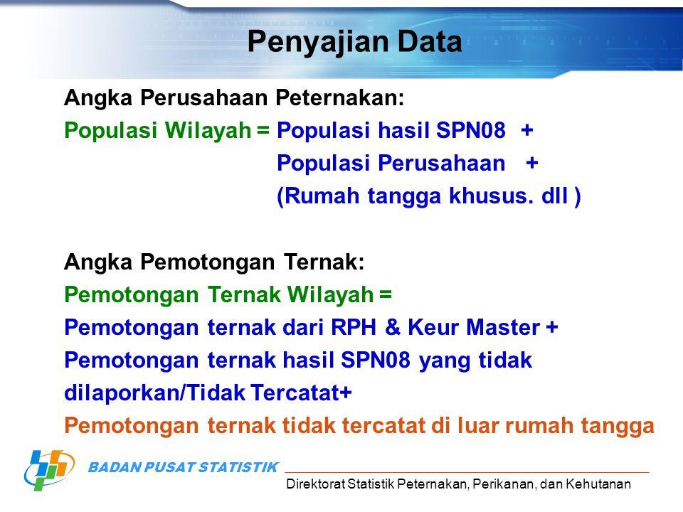 Direktorat Statistik Peternakan, Perikanan, dan Kehutanan BADAN PUSAT STATISTIK Angka Perusahaan Peternakan: Populasi Wilayah = Populasi hasil SPN08 +