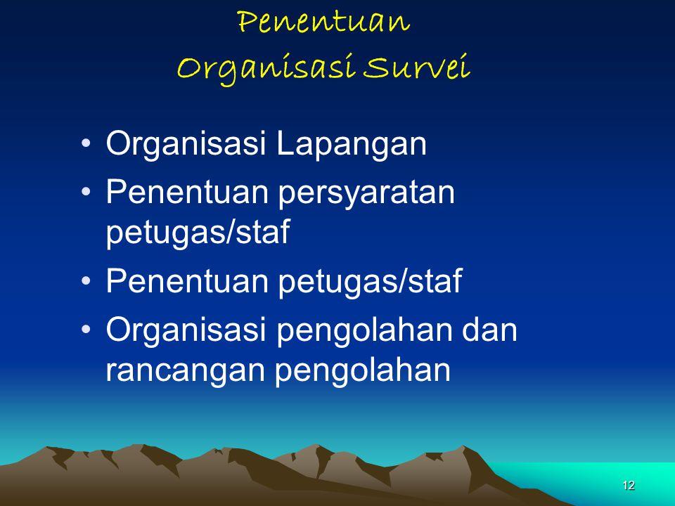 12 Penentuan Organisasi Survei Organisasi Lapangan Penentuan persyaratan petugas/staf Penentuan petugas/staf Organisasi pengolahan dan rancangan pengolahan