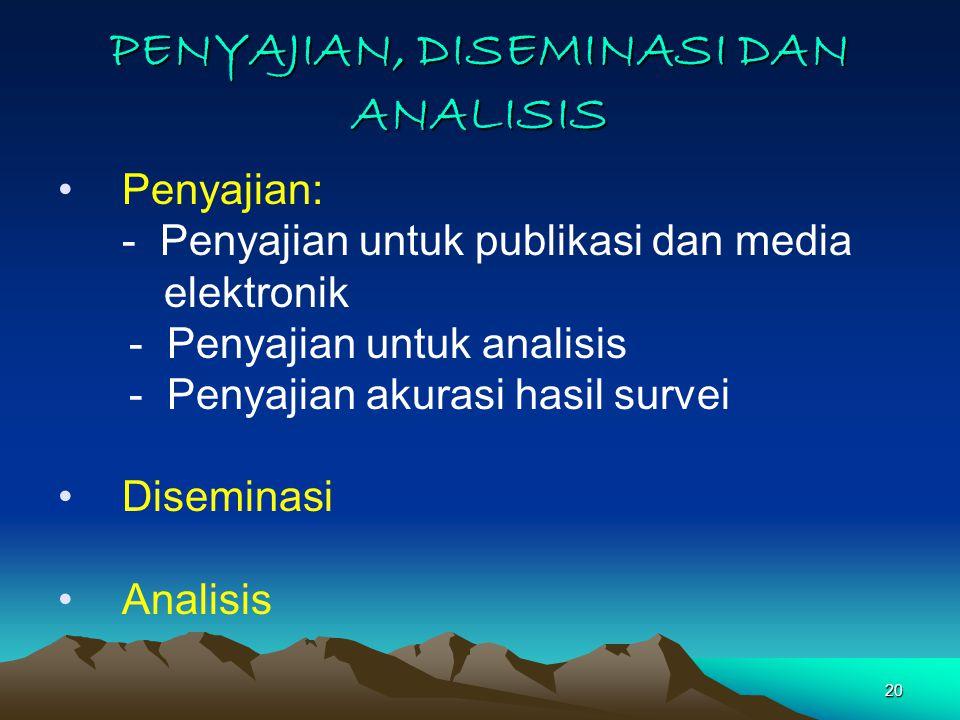 20 PENYAJIAN, DISEMINASI DAN ANALISIS Penyajian: - Penyajian untuk publikasi dan media elektronik - Penyajian untuk analisis - Penyajian akurasi hasil survei Diseminasi Analisis