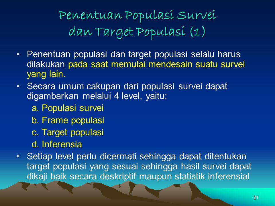 21 Penentuan Populasi Survei dan Target Populasi (1) Penentuan populasi dan target populasi selalu harus dilakukan pada saat memulai mendesain suatu survei yang lain.