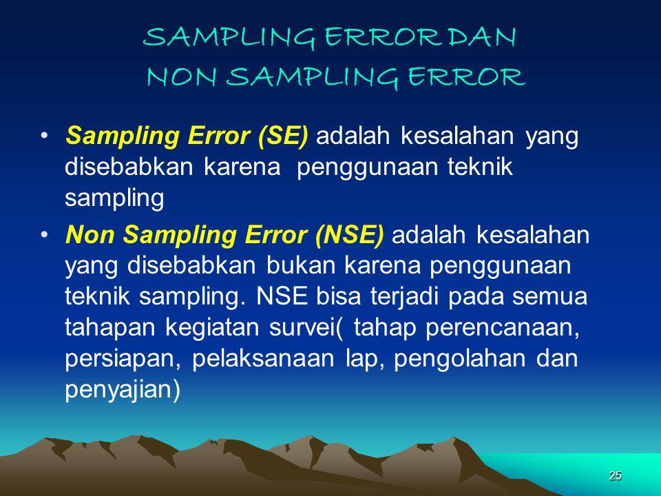 25 SAMPLING ERROR DAN NON SAMPLING ERROR Sampling Error (SE) adalah kesalahan yang disebabkan karena penggunaan teknik sampling Non Sampling Error (NSE) adalah kesalahan yang disebabkan bukan karena penggunaan teknik sampling.