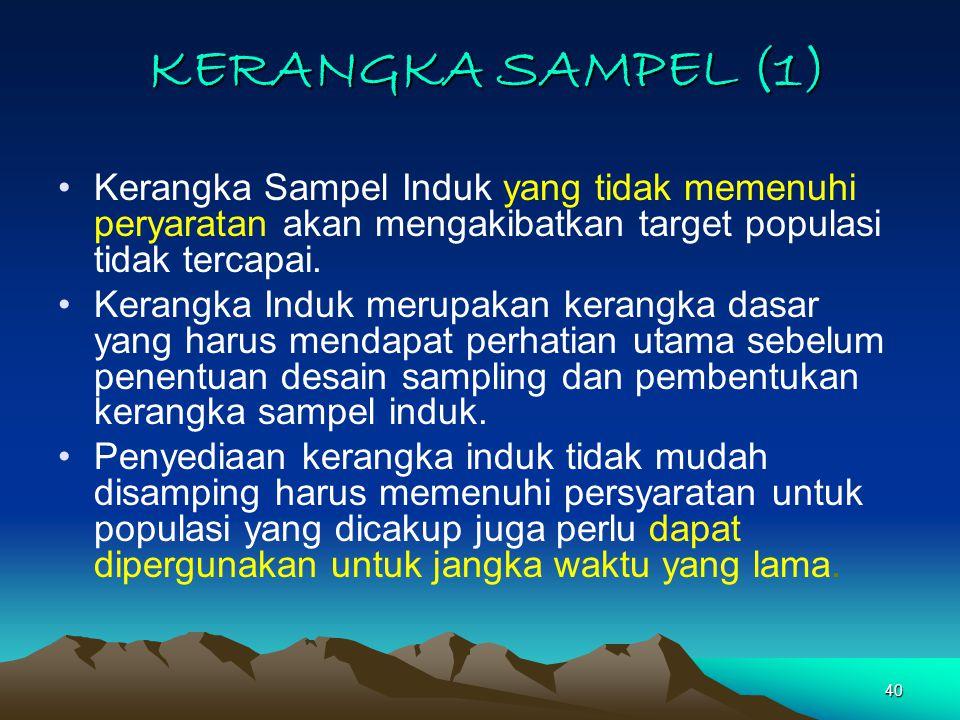 40 KERANGKA SAMPEL (1) Kerangka Sampel Induk yang tidak memenuhi peryaratan akan mengakibatkan target populasi tidak tercapai.