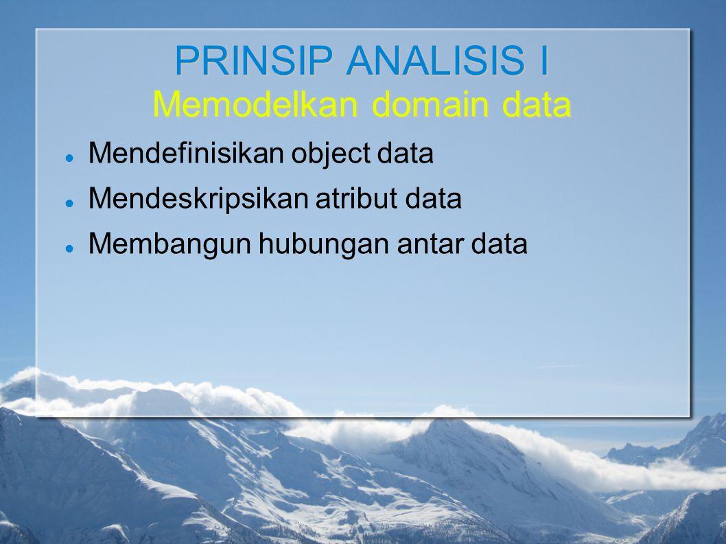 PRINSIP ANALISIS I Memodelkan domain data Mendefinisikan object data Mendeskripsikan atribut data Membangun hubungan antar data