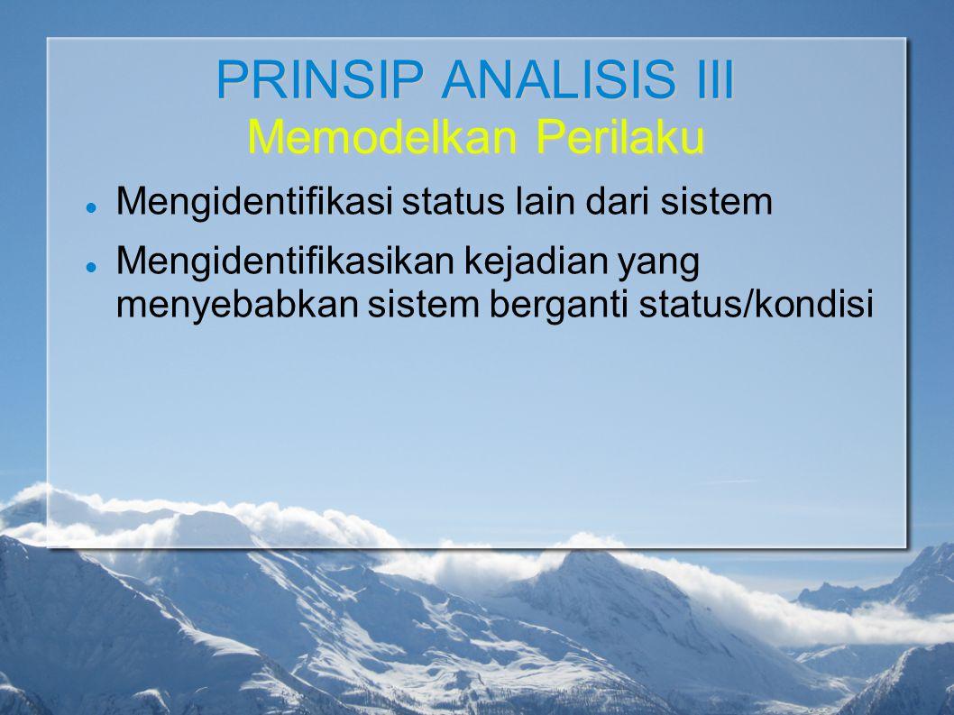 PRINSIP ANALISIS III Memodelkan Perilaku Mengidentifikasi status lain dari sistem Mengidentifikasikan kejadian yang menyebabkan sistem berganti status